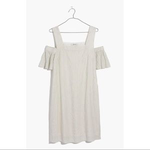 Madewell Cotton Striped Cold Shoulder Dress